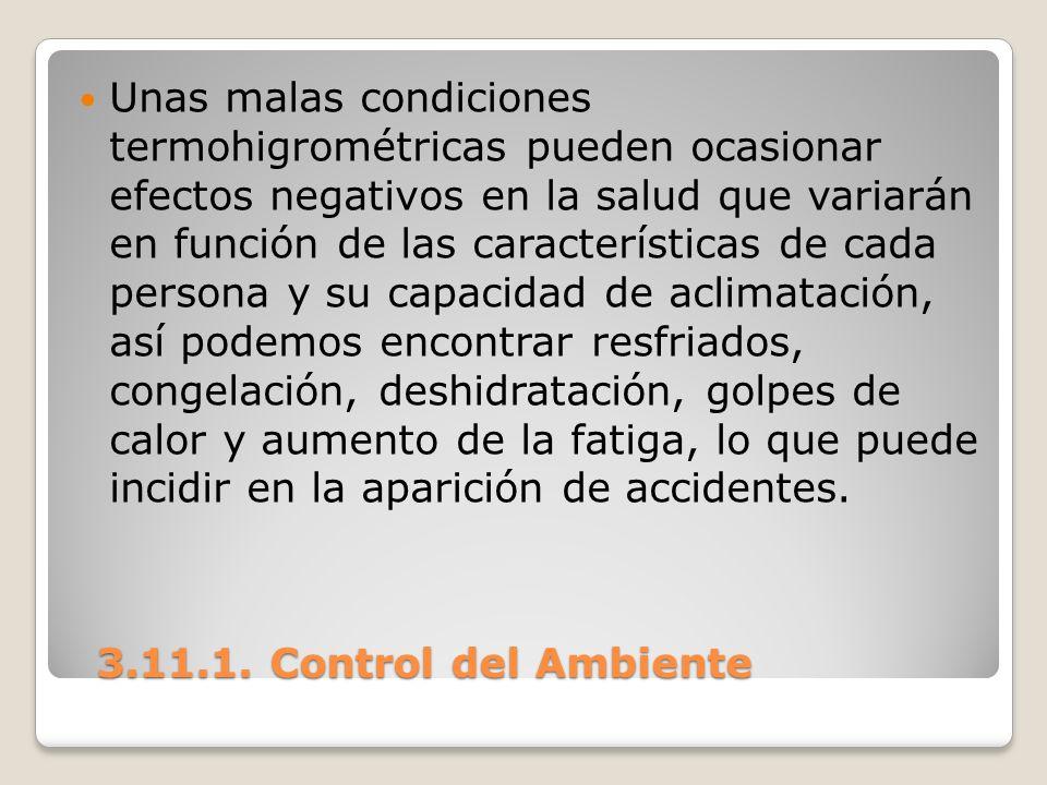 3.11.1. Control del Ambiente 3.11.1. Control del Ambiente Unas malas condiciones termohigrométricas pueden ocasionar efectos negativos en la salud que