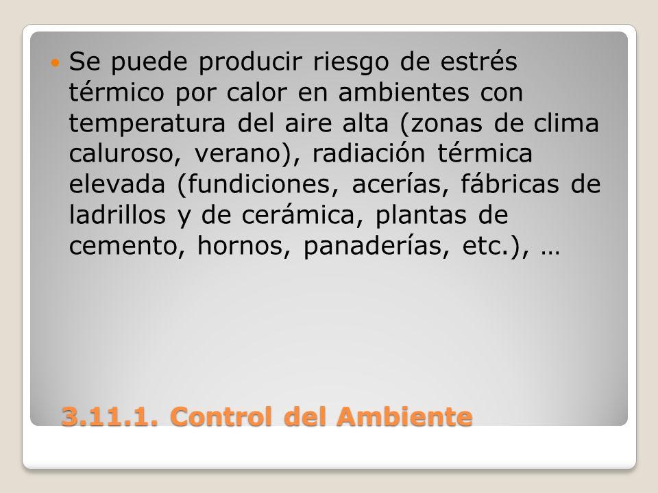3.11.1. Control del Ambiente 3.11.1. Control del Ambiente Se puede producir riesgo de estrés térmico por calor en ambientes con temperatura del aire a