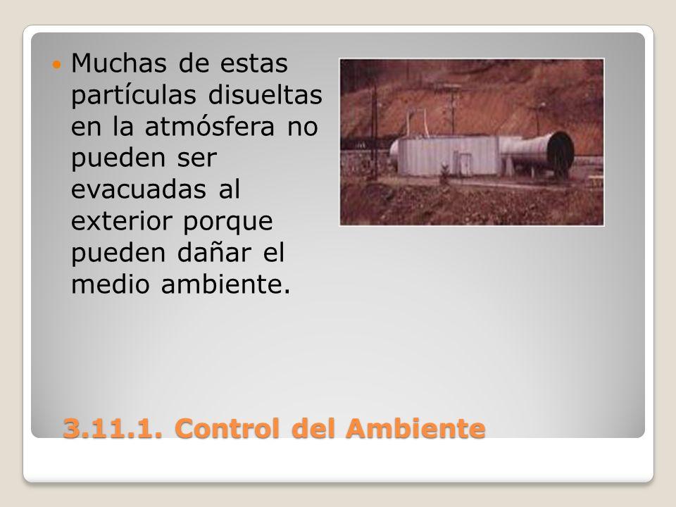 3.11.1. Control del Ambiente 3.11.1. Control del Ambiente Muchas de estas partículas disueltas en la atmósfera no pueden ser evacuadas al exterior por