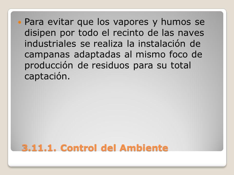 3.11.1. Control del Ambiente 3.11.1. Control del Ambiente Para evitar que los vapores y humos se disipen por todo el recinto de las naves industriales