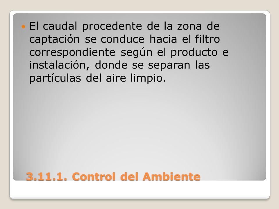 3.11.1. Control del Ambiente 3.11.1. Control del Ambiente El caudal procedente de la zona de captación se conduce hacia el filtro correspondiente segú