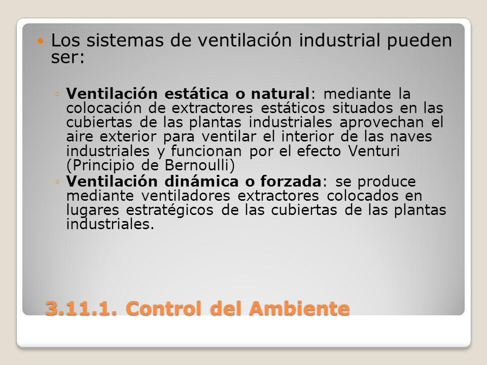 3.11.1. Control del Ambiente 3.11.1. Control del Ambiente Los sistemas de ventilación industrial pueden ser: Ventilación estática o natural: mediante