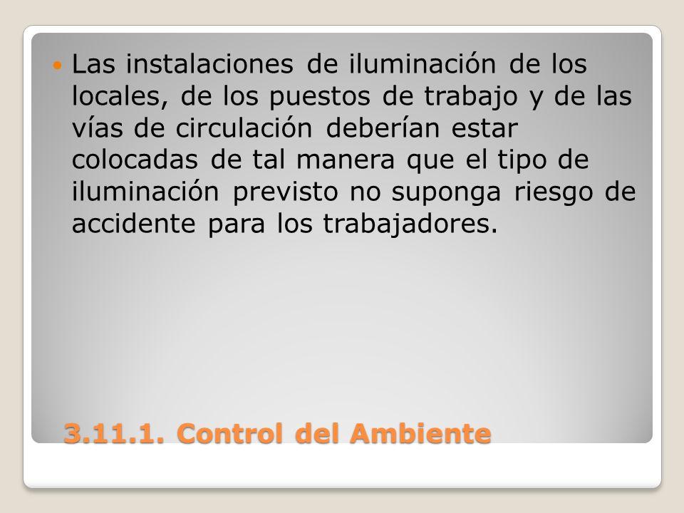 3.11.1. Control del Ambiente 3.11.1. Control del Ambiente Las instalaciones de iluminación de los locales, de los puestos de trabajo y de las vías de