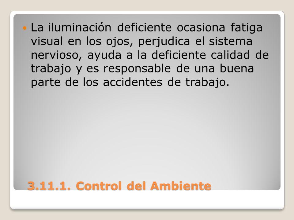 3.11.1. Control del Ambiente 3.11.1. Control del Ambiente La iluminación deficiente ocasiona fatiga visual en los ojos, perjudica el sistema nervioso,