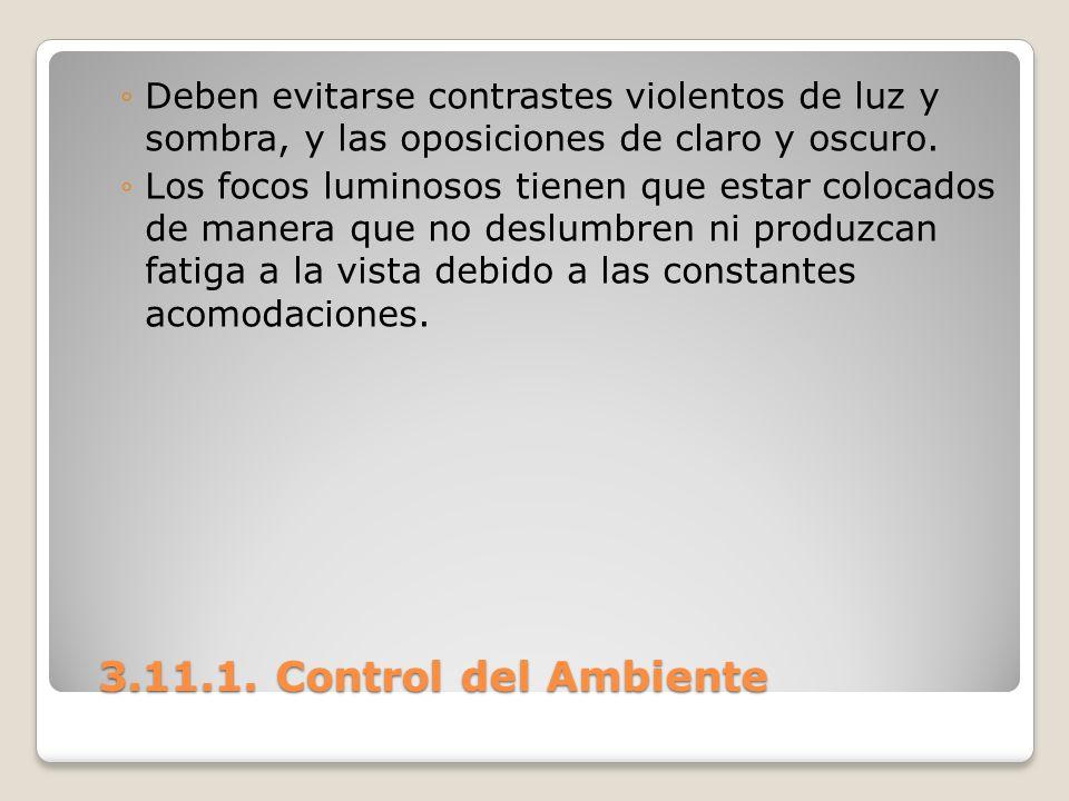3.11.1. Control del Ambiente 3.11.1. Control del Ambiente Deben evitarse contrastes violentos de luz y sombra, y las oposiciones de claro y oscuro. Lo