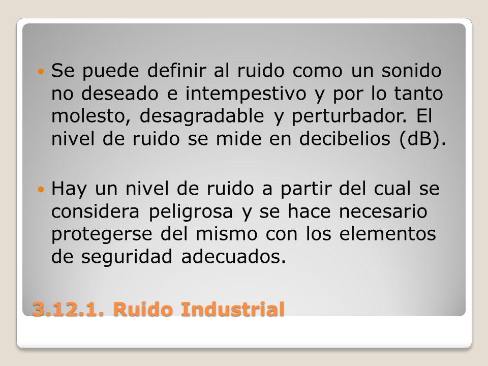 3.12.1. Ruido Industrial Se puede definir al ruido como un sonido no deseado e intempestivo y por lo tanto molesto, desagradable y perturbador. El niv
