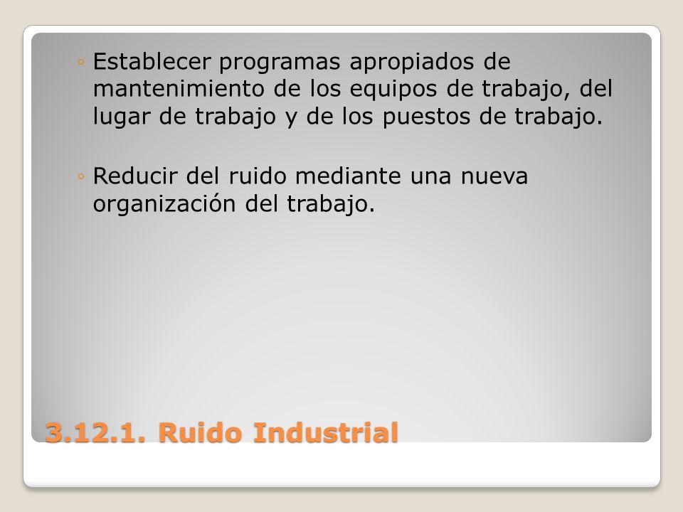 3.12.1. Ruido Industrial Establecer programas apropiados de mantenimiento de los equipos de trabajo, del lugar de trabajo y de los puestos de trabajo.