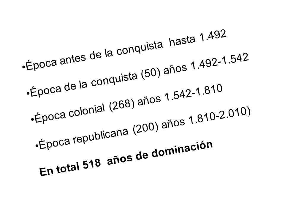 Época antes de la conquista hasta 1.492 Época de la conquista (50) años 1.492-1.542 Época colonial (268) años 1.542-1.810 Época republicana (200) años