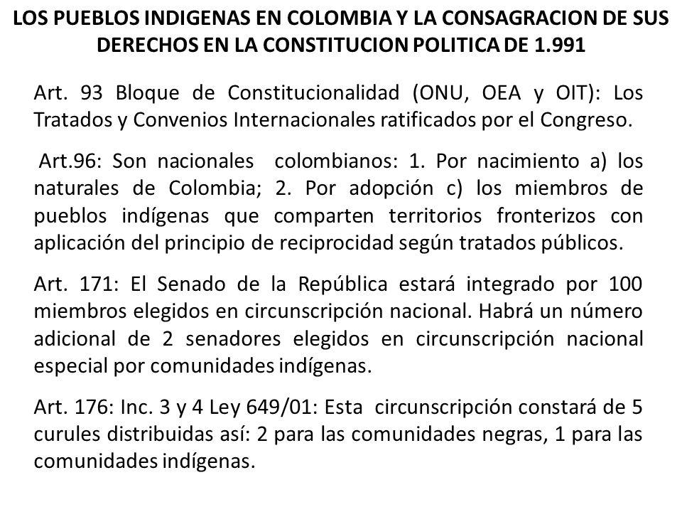 LOS PUEBLOS INDIGENAS EN COLOMBIA Y LA CONSAGRACION DE SUS DERECHOS EN LA CONSTITUCION POLITICA DE 1.991 Art. 93 Bloque de Constitucionalidad (ONU, OE