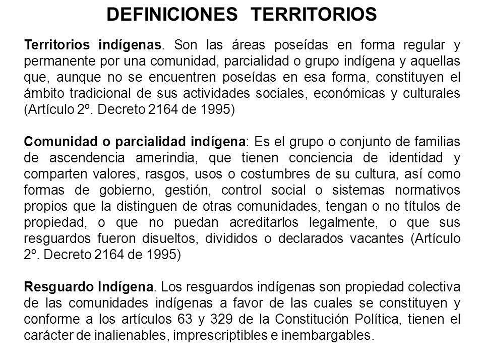 Territorios indígenas. Son las áreas poseídas en forma regular y permanente por una comunidad, parcialidad o grupo indígena y aquellas que, aunque no