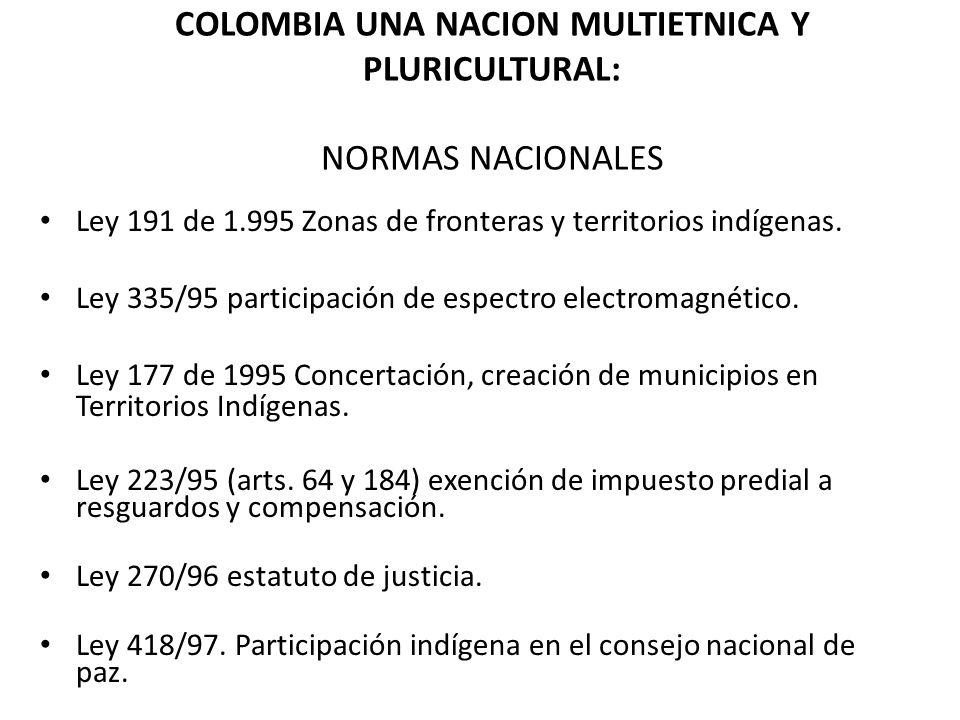 COLOMBIA UNA NACION MULTIETNICA Y PLURICULTURAL: NORMAS NACIONALES Ley 191 de 1.995 Zonas de fronteras y territorios indígenas. Ley 335/95 participaci
