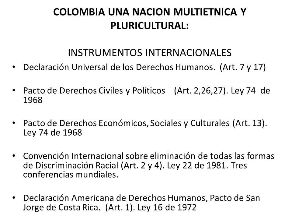 COLOMBIA UNA NACION MULTIETNICA Y PLURICULTURAL: INSTRUMENTOS INTERNACIONALES Declaración Universal de los Derechos Humanos. (Art. 7 y 17) Pacto de De