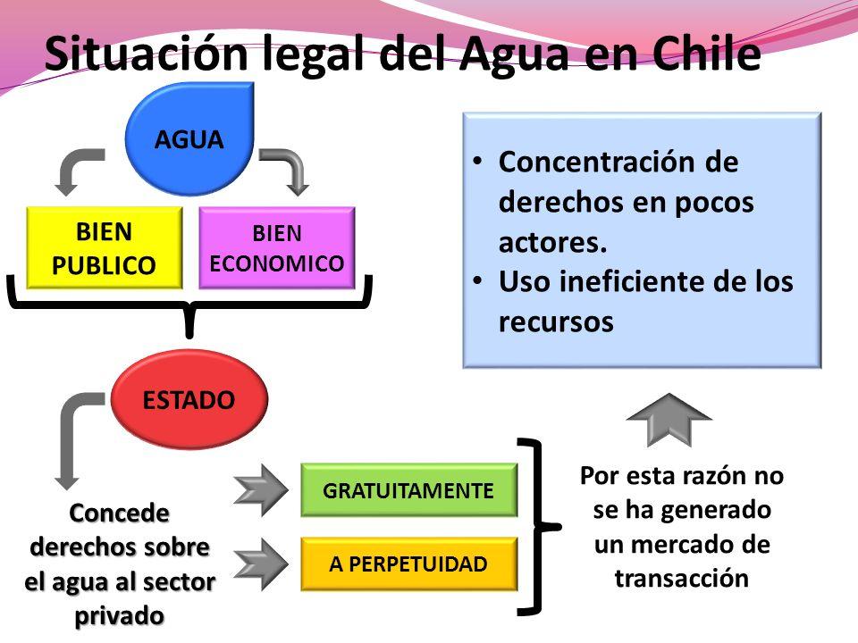Situación legal del Agua en Chile ESTADO BIEN PUBLICO BIEN ECONOMICO AGUA Concede derechos sobre el agua al sector privado GRATUITAMENTE A PERPETUIDAD Por esta razón no se ha generado un mercado de transacción Concentración de derechos en pocos actores.