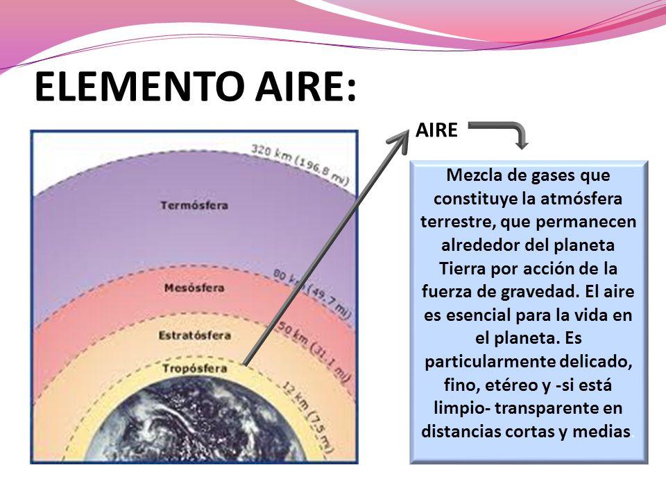 ELEMENTO AIRE: AIRE Mezcla de gases que constituye la atmósfera terrestre, que permanecen alrededor del planeta Tierra por acción de la fuerza de gravedad.