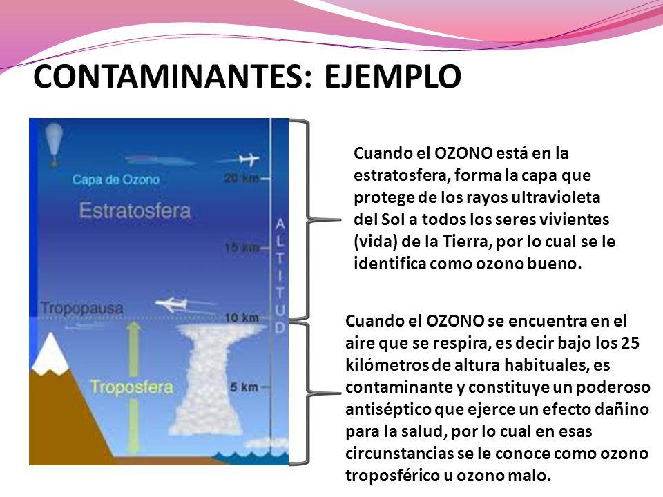 Cuando el OZONO se encuentra en el aire que se respira, es decir bajo los 25 kilómetros de altura habituales, es contaminante y constituye un poderoso antiséptico que ejerce un efecto dañino para la salud, por lo cual en esas circunstancias se le conoce como ozono troposférico u ozono malo.