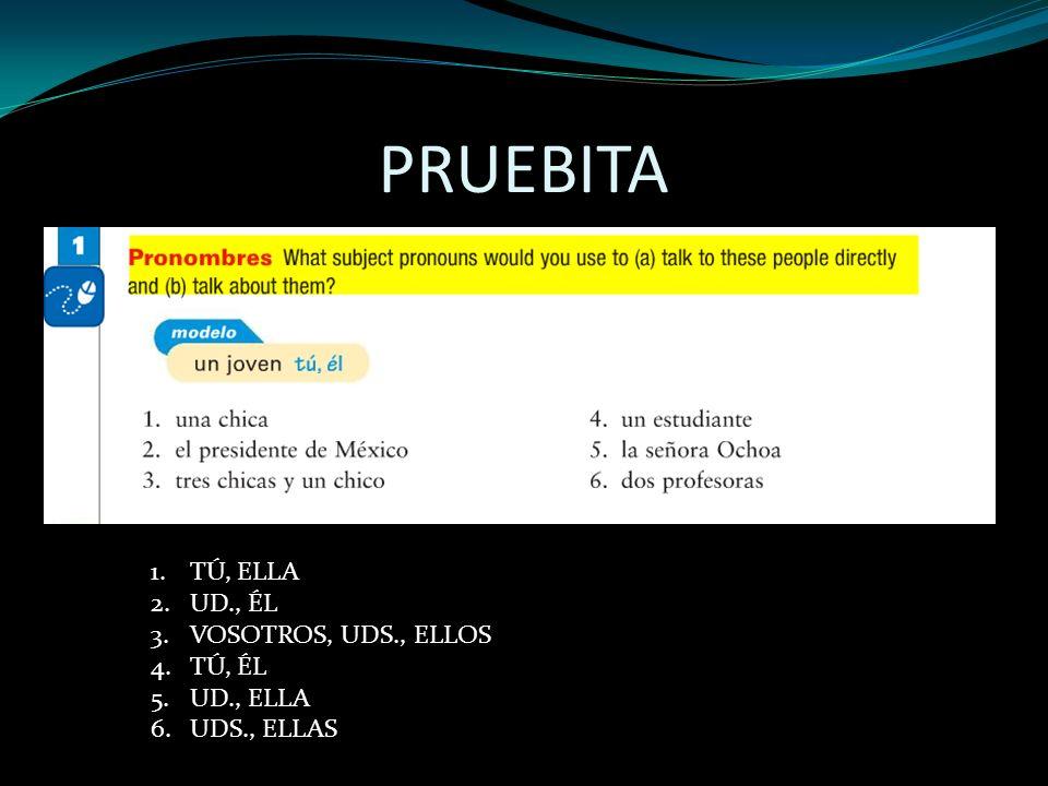 PRUEBITA 1.TÚ, ELLA 2.UD., ÉL 3.VOSOTROS, UDS., ELLOS 4.TÚ, ÉL 5.UD., ELLA 6.UDS., ELLAS