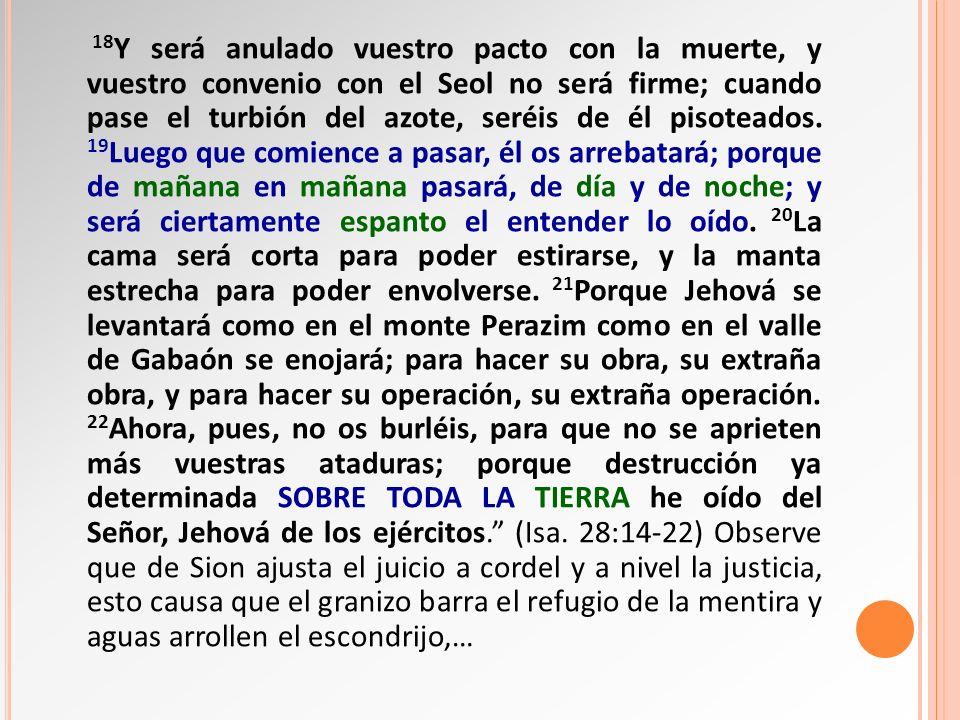 18 Y será anulado vuestro pacto con la muerte, y vuestro convenio con el Seol no será firme; cuando pase el turbión del azote, seréis de él pisoteados