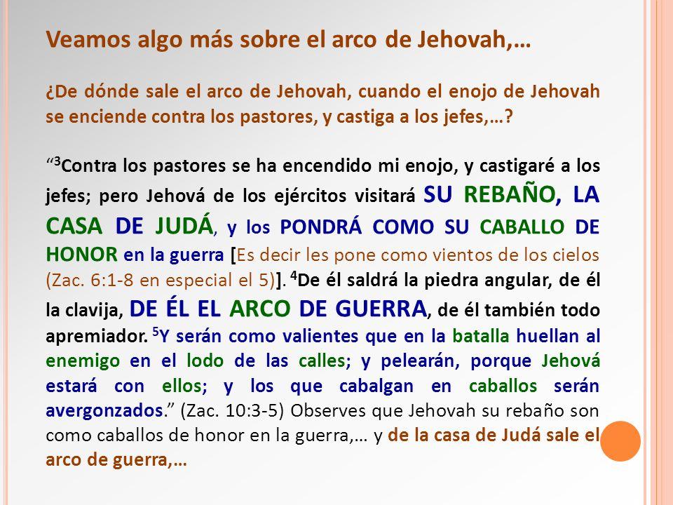 Veamos algo más sobre el arco de Jehovah,… ¿De dónde sale el arco de Jehovah, cuando el enojo de Jehovah se enciende contra los pastores, y castiga a