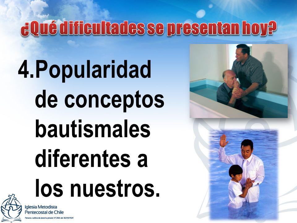4.Popularidad de conceptos bautismales diferentes a los nuestros.