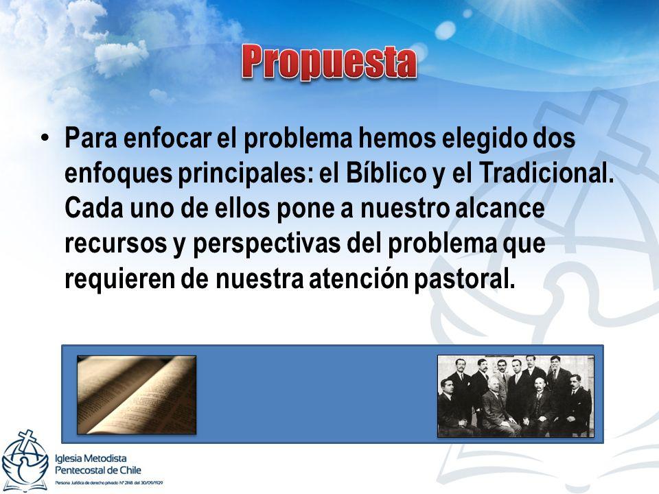 Para enfocar el problema hemos elegido dos enfoques principales: el Bíblico y el Tradicional. Cada uno de ellos pone a nuestro alcance recursos y pers