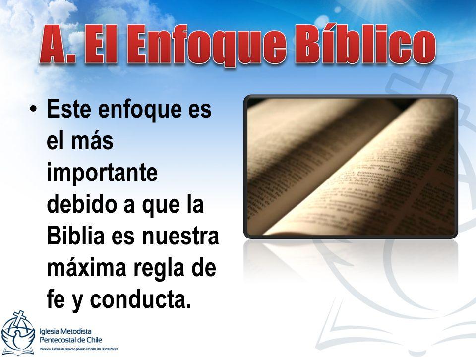 Este enfoque es el más importante debido a que la Biblia es nuestra máxima regla de fe y conducta.