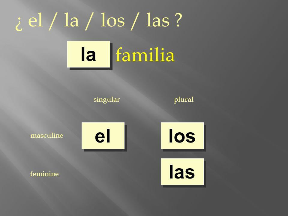 ¿ el / la / los / las ? familia singularplural masculine feminine el la los las