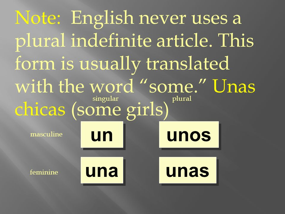singularplural masculine feminine un una unos unas Note: English never uses a plural indefinite article. This form is usually translated with the word
