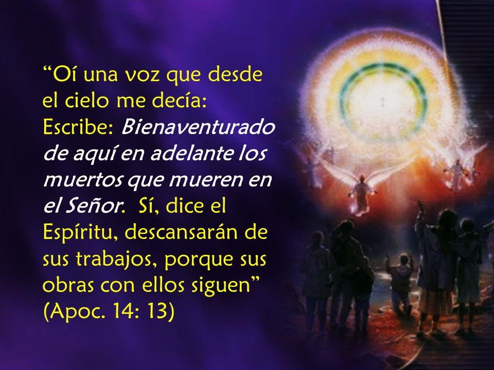 Oí una voz que desde el cielo me decía: Escribe: Bienaventurado de aquí en adelante los muertos que mueren en el Señor. Sí, dice el Espíritu, descansa
