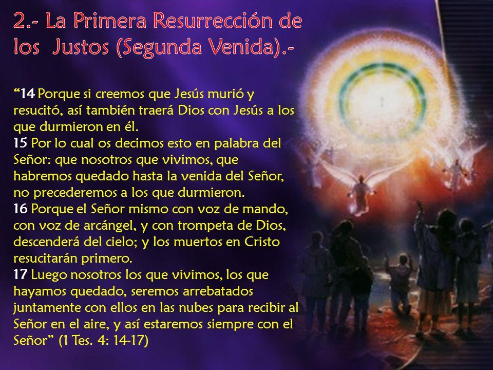 Juicio Comprobatorio en el Cielo de MIL AÑOS o MILENIO Juicio Comprobatorio en el Cielo de MIL AÑOS o MILENIO INICIO DEL MILENIO INICIO DEL MILENIO FIN DEL MILENIO FIN DEL MILENIO JUEZ = Jesús JUEZ = Jesús TESTIGOS = Santos redimidos de todas las edades TESTIGOS = Santos redimidos de todas las edades JUZGADOS = Impíos / ángeles caídos / Dios JUZGADOS = Impíos / ángeles caídos / Dios RESULTADOS = Se vindica la justicia de Dios / se decide el castigo de los impíos y de Satanás y sus ángeles RESULTADOS = Se vindica la justicia de Dios / se decide el castigo de los impíos y de Satanás y sus ángeles 2da.