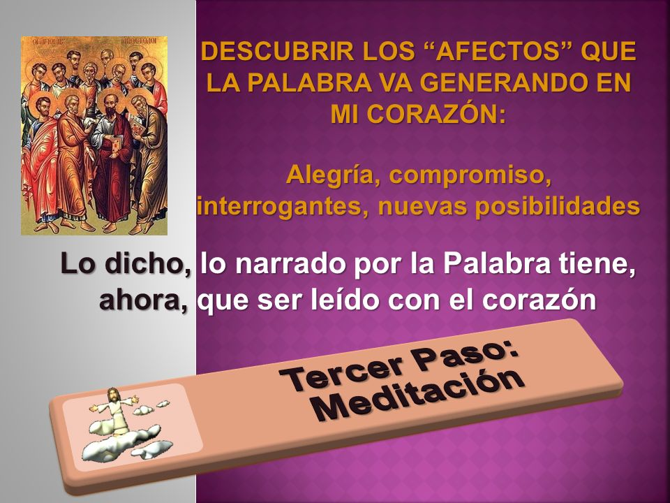 DESCUBRIR LOS AFECTOS QUE LA PALABRA VA GENERANDO EN MI CORAZÓN: Alegría, compromiso, interrogantes, nuevas posibilidades Lo dicho, lo narrado por la