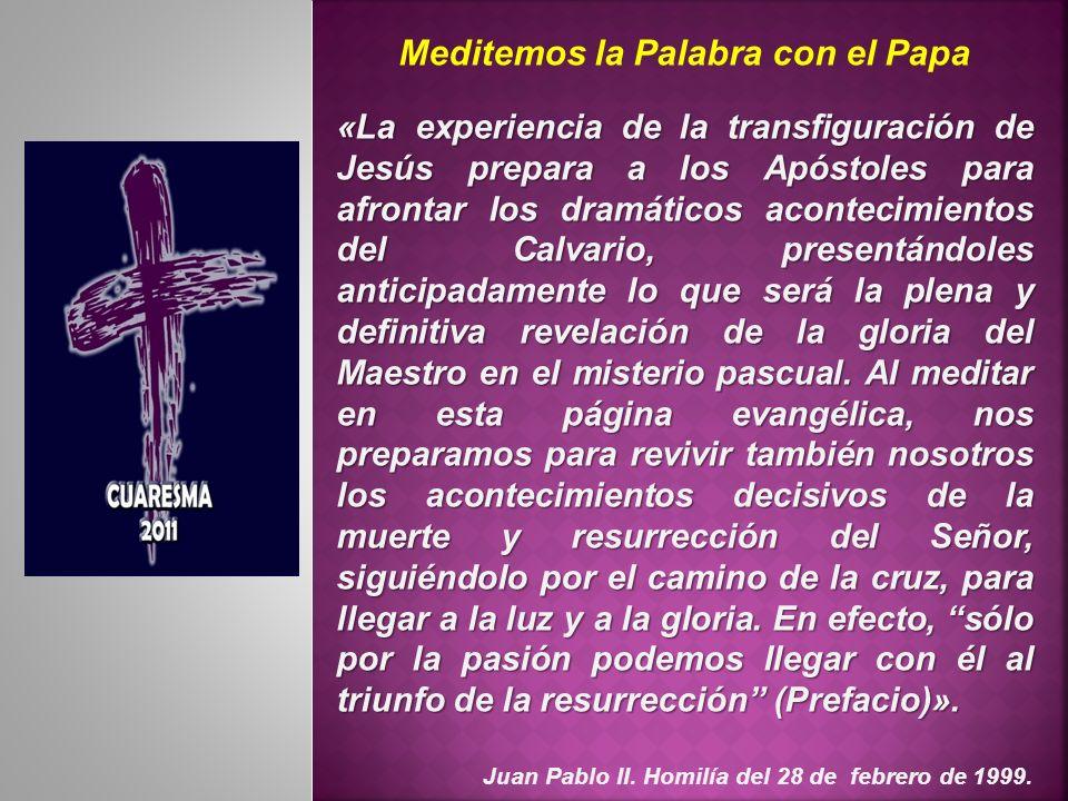 Meditemos la Palabra con el Papa «La experiencia de la transfiguración de Jesús prepara a los Apóstoles para afrontar los dramáticos acontecimientos d