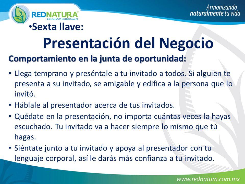 Sexta llave: Presentación del Negocio Comportamiento en la junta de oportunidad: Llega temprano y preséntale a tu invitado a todos.