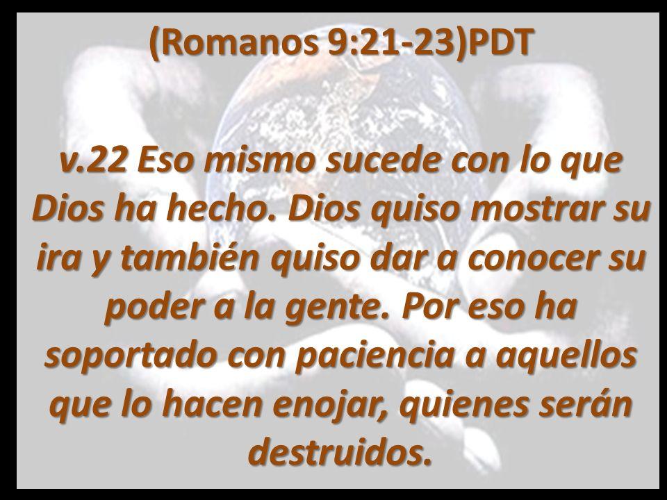 (Romanos 9:21-23) PDT 23 Hizo esto para mostrar lo grande y espléndido que es él.