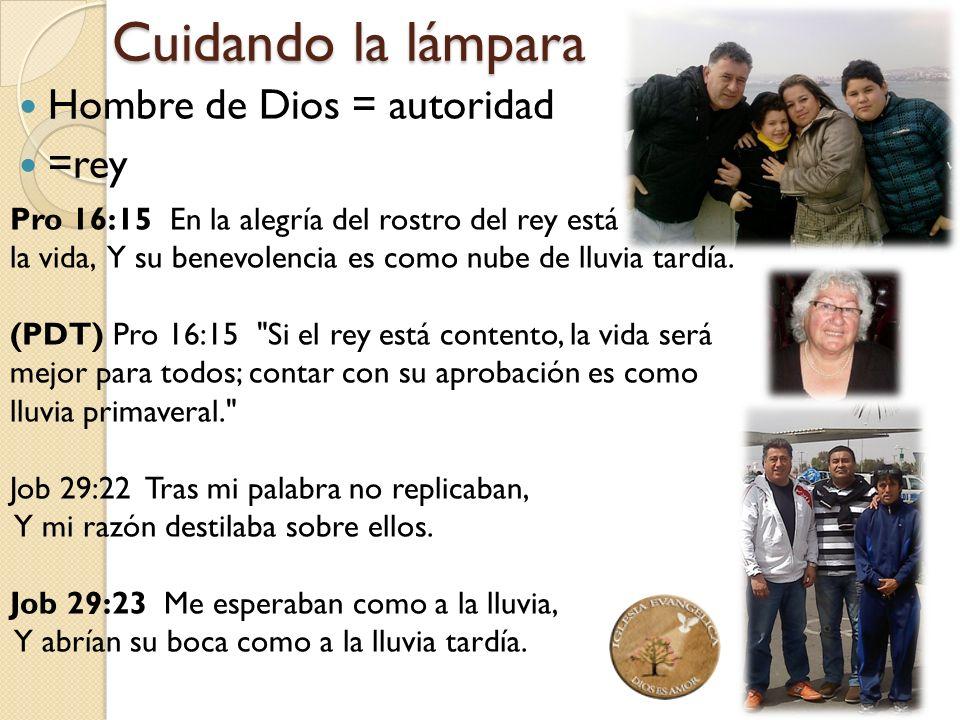 Cuidando la lámpara Hombre de Dios = autoridad =rey Pro 16:15 En la alegría del rostro del rey está la vida, Y su benevolencia es como nube de lluvia