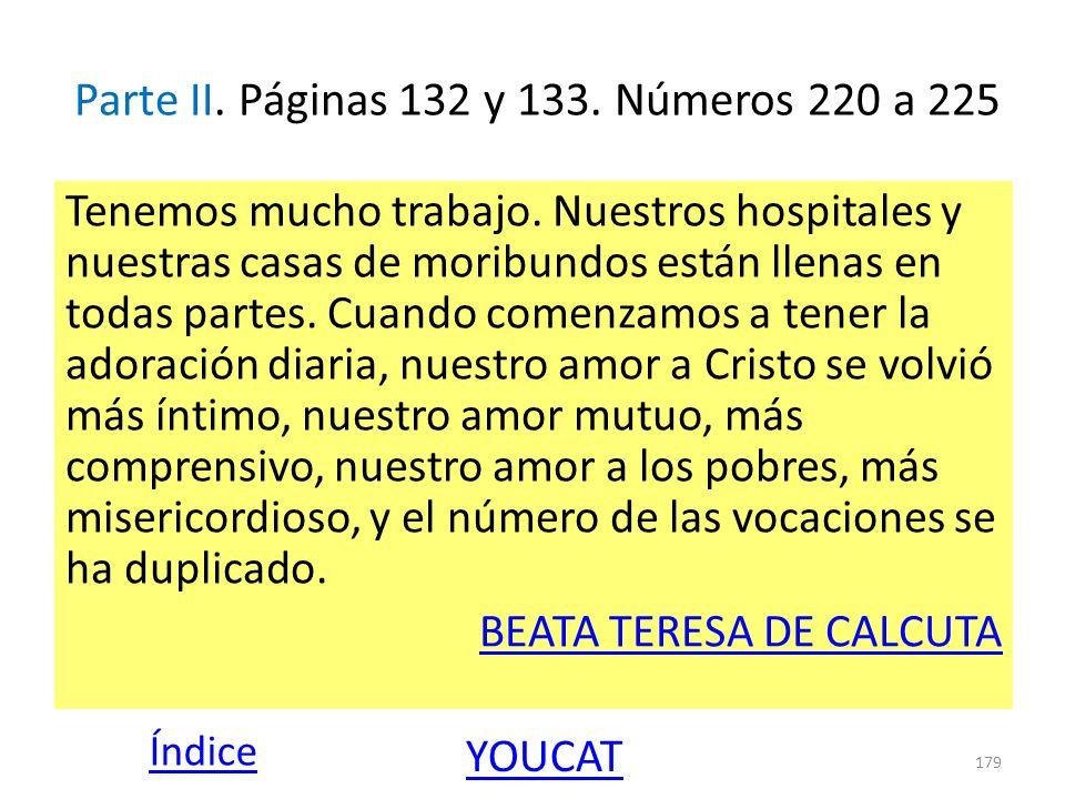 Parte II. Páginas 132 y 133. Números 220 a 225 Tenemos mucho trabajo. Nuestros hospitales y nuestras casas de moribundos están llenas en todas partes.