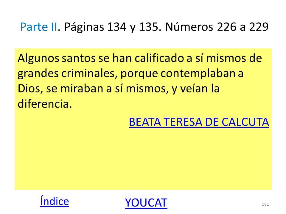 Parte II. Páginas 134 y 135. Números 226 a 229 Algunos santos se han calificado a sí mismos de grandes criminales, porque contemplaban a Dios, se mira