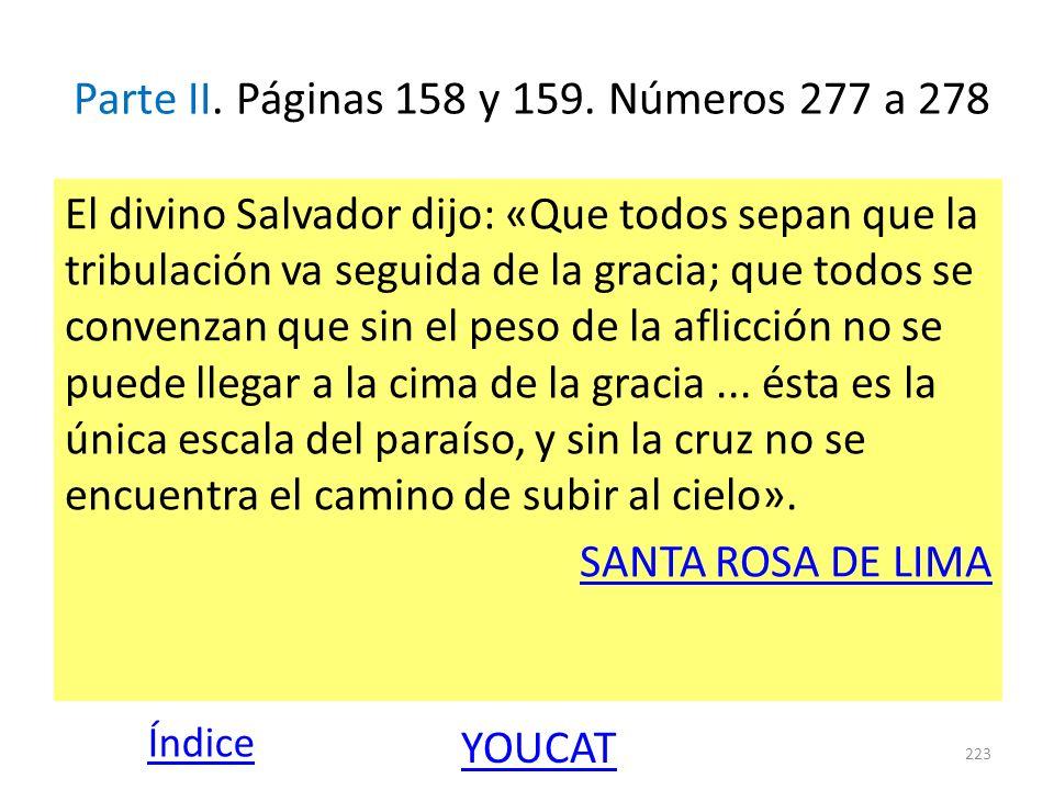 Parte II. Páginas 158 y 159. Números 277 a 278 El divino Salvador dijo: «Que todos sepan que la tribulación va seguida de la gracia; que todos se conv