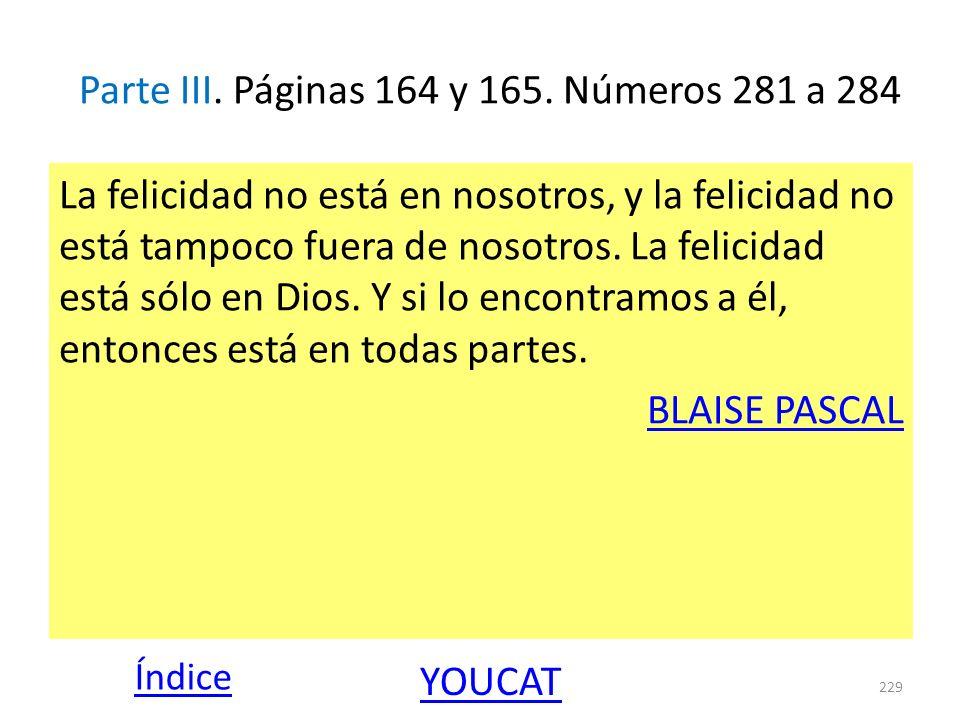 Parte III. Páginas 164 y 165. Números 281 a 284 La felicidad no está en nosotros, y la felicidad no está tampoco fuera de nosotros. La felicidad está