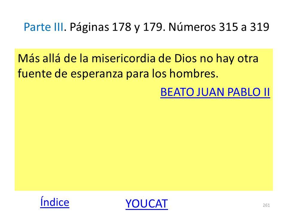 Parte III. Páginas 178 y 179. Números 315 a 319 Más allá de la misericordia de Dios no hay otra fuente de esperanza para los hombres. BEATO JUAN PABLO