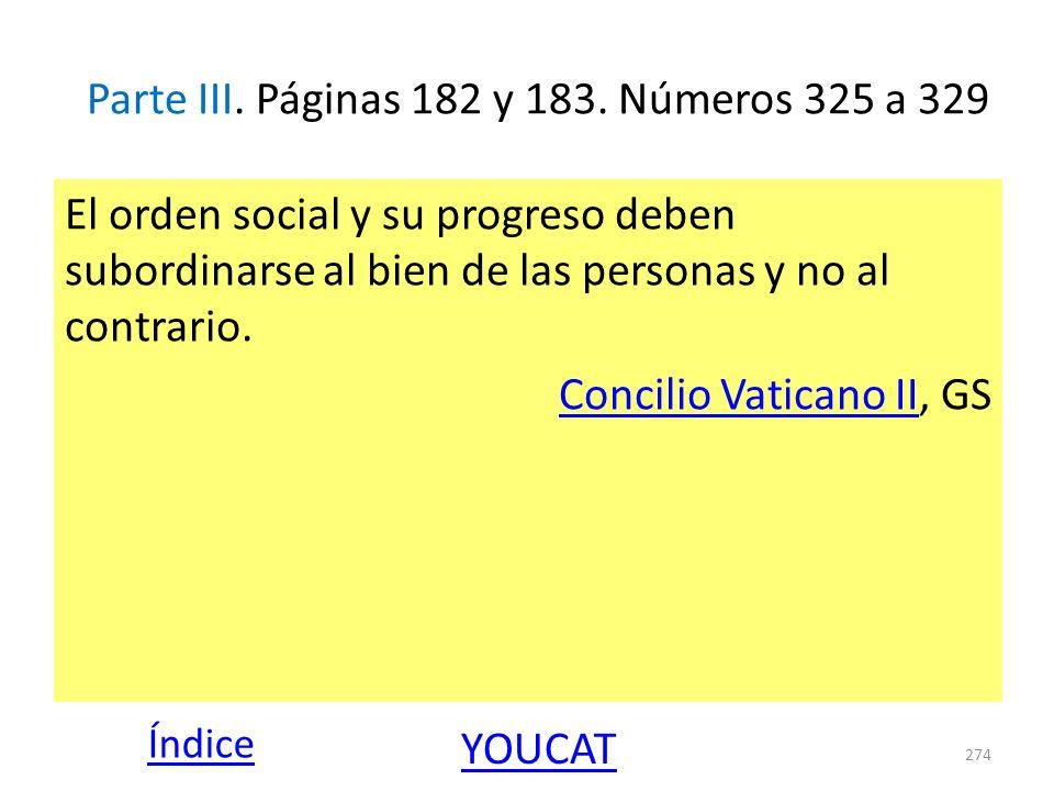 Parte III. Páginas 182 y 183. Números 325 a 329 El orden social y su progreso deben subordinarse al bien de las personas y no al contrario. Concilio V