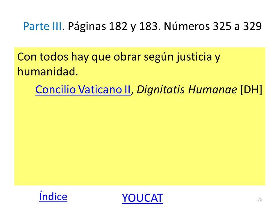 Parte III. Páginas 182 y 183. Números 325 a 329 Con todos hay que obrar según justicia y humanidad. Concilio Vaticano IIConcilio Vaticano II, Dignitat
