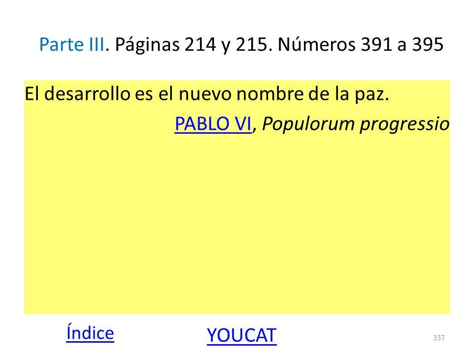 Parte III. Páginas 214 y 215. Números 391 a 395 El desarrollo es el nuevo nombre de la paz. PABLO VIPABLO VI, Populorum progressio 337 Índice YOUCAT