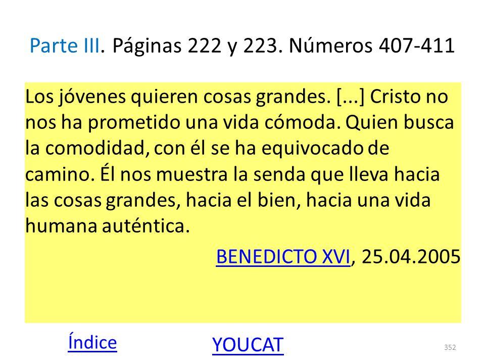 Parte III. Páginas 222 y 223. Números 407-411 Los jóvenes quieren cosas grandes. [...] Cristo no nos ha prometido una vida cómoda. Quien busca la como