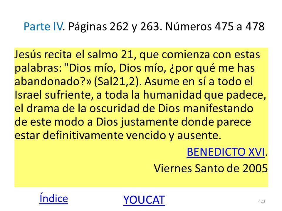 Parte IV. Páginas 262 y 263. Números 475 a 478 Jesús recita el salmo 21, que comienza con estas palabras: