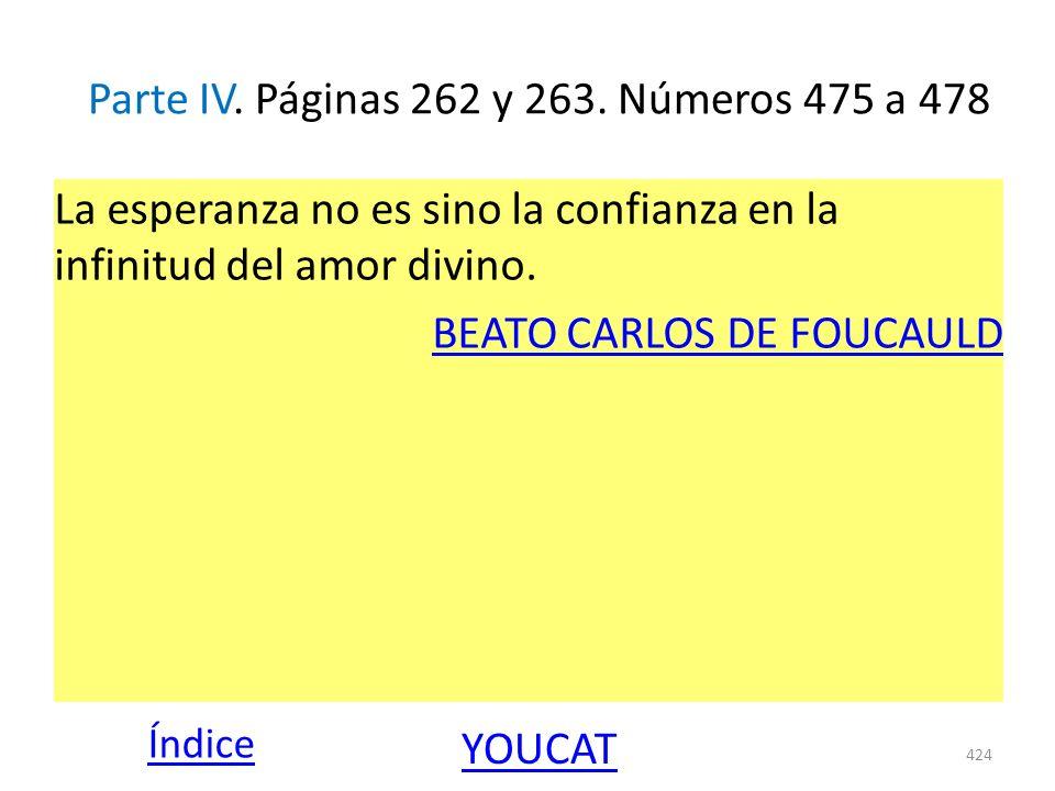Parte IV. Páginas 262 y 263. Números 475 a 478 La esperanza no es sino la confianza en la infinitud del amor divino. BEATO CARLOS DE FOUCAULD 424 Índi
