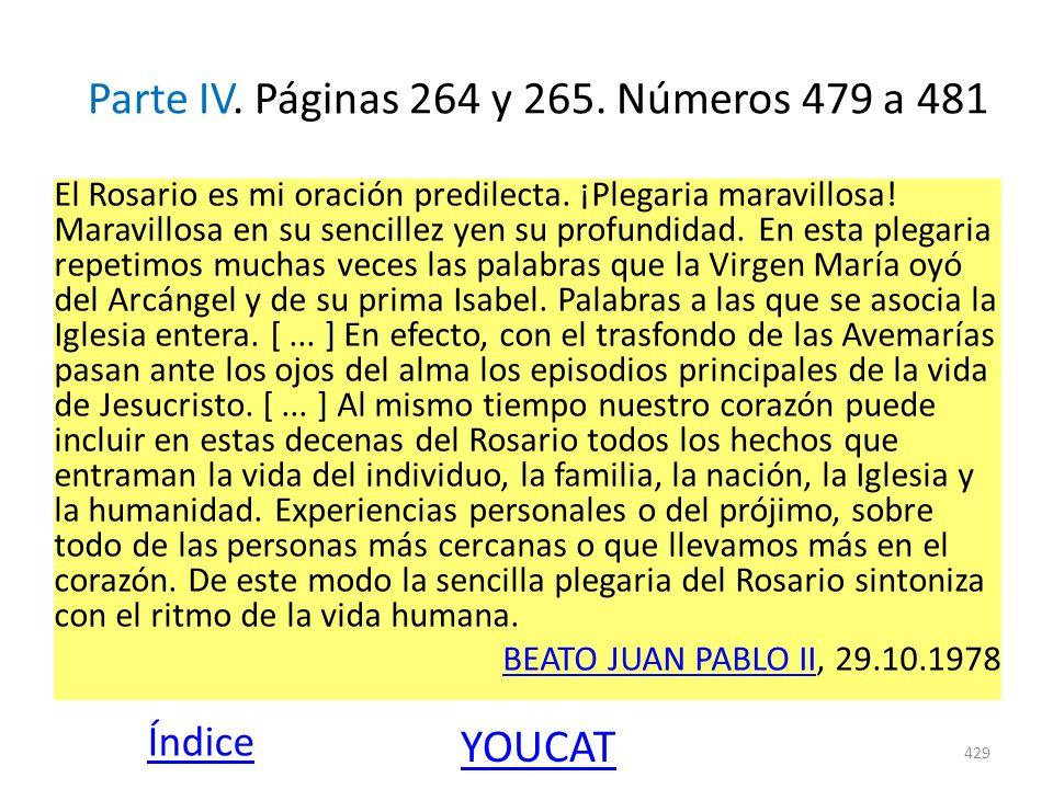 Parte IV. Páginas 264 y 265. Números 479 a 481 El Rosario es mi oración predilecta. ¡Plegaria maravillosa! Maravillosa en su sencillez yen su profundi