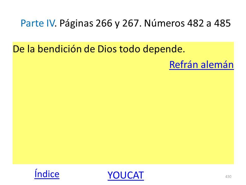 Parte IV. Páginas 266 y 267. Números 482 a 485 De la bendición de Dios todo depende. Refrán alemán 430 Índice YOUCAT