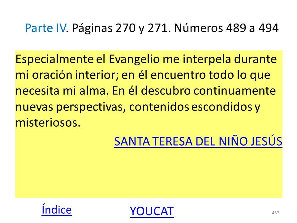 Parte IV. Páginas 270 y 271. Números 489 a 494 Especialmente el Evangelio me interpela durante mi oración interior; en él encuentro todo lo que necesi