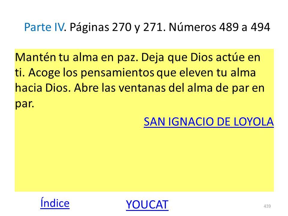 Parte IV. Páginas 270 y 271. Números 489 a 494 Mantén tu alma en paz. Deja que Dios actúe en ti. Acoge los pensamientos que eleven tu alma hacia Dios.