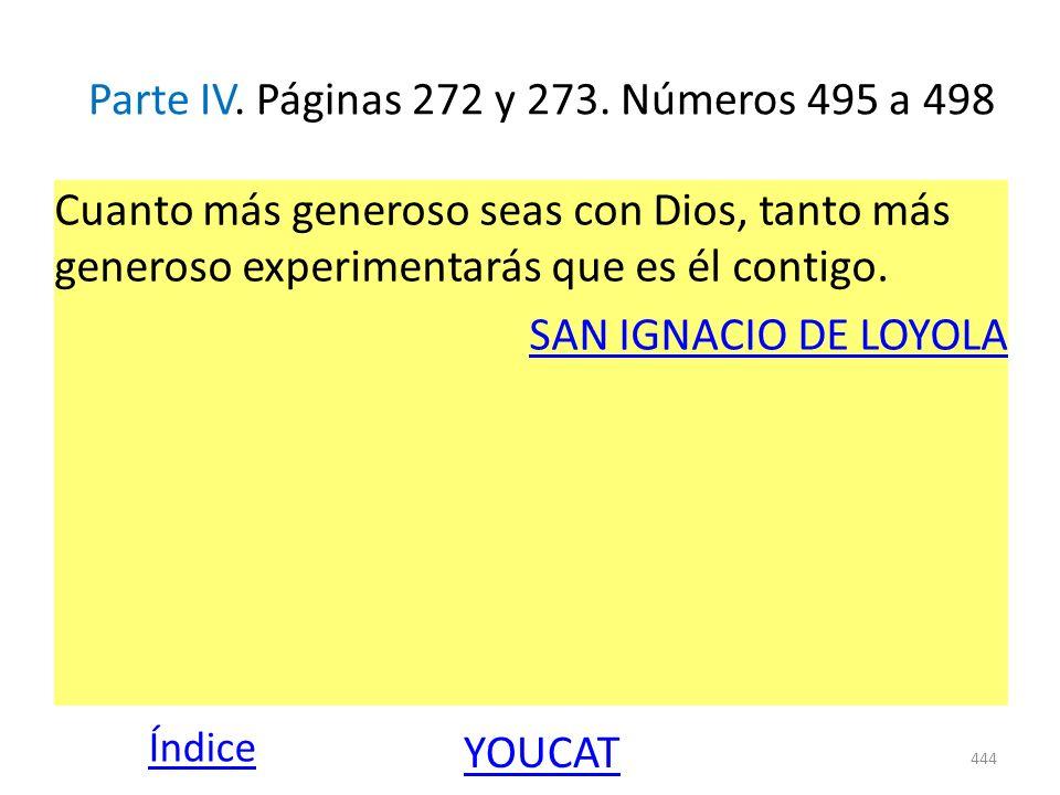 Parte IV. Páginas 272 y 273. Números 495 a 498 Cuanto más generoso seas con Dios, tanto más generoso experimentarás que es él contigo. SAN IGNACIO DE